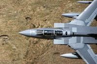 Front section of a Royal Air Force Tornado GR4 during low fly training in North Wales Fine Art Print