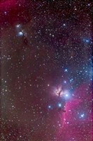 Area around the Belt of Orion, with the Horsehead and Flame Nebula Fine Art Print