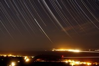 Star trails above a village in the central desert of Iran Fine Art Print