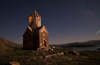 Starry night sky above Dzordza church, Iran Fine Art Print