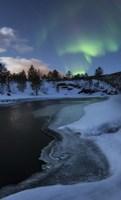 Aurora Borealis over Tennevik River, Troms, Norway Fine Art Print