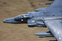 Front section of a Royal Air Force Harrier GR9 flying low over North Wales Fine Art Print