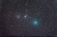 Comet Hartley 2 as it approaches the Double Cluster in Perseus Fine Art Print