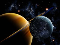 Two artificial moons travelling around a gas giant devouring the natural moons Fine Art Print