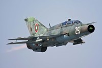 A Bulgarian Air Force MiG-21UM in flight over Bulgaria Fine Art Print
