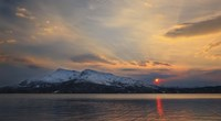 Midnight Sun over Tjeldsundet strait in Troms County, Norway Fine Art Print