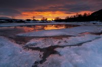 A fiery sunrise over Lavangsfjord, Troms, Norway Fine Art Print