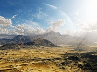 Clouds break over a desert on Matsya, giving a glimpse of the planet Samandar Fine Art Print