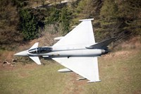 A Eurofighter Typhoon F2 aircraft of the Royal Air Force low flying over North Wales Fine Art Print