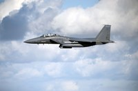 A United States Air Force F-15 Strike Eagle in flight Fine Art Print
