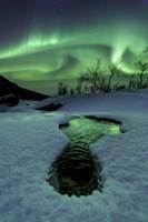 Aurora Borealis over a frozen river, Norway Fine Art Print