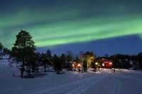 Aurora Borealis over farm houses, Tennevik Lake, Troms, Norway Fine Art Print