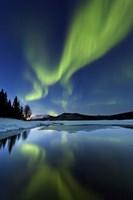 Aurora Borealis over Sandvannet Lake in Troms County, Norway Fine Art Print