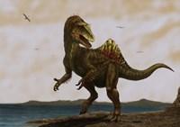 A Concavenator corcovatus running on the beach Fine Art Print
