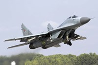 Serbian Air Force MiG-29 departing with two AA-8 Aphid missiles Fine Art Print