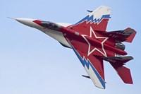Top view of a Russian MiG-29OVT aerobatic aircraft Fine Art Print