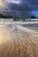 Waves washing back to sea on Haukland Beach, Lofoten, Norway Fine Art Print