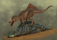 A Concavenator kills a young iguanodon dinosaur by Alvaro Rozalen - various sizes