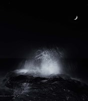 The crescent moon and waves splashing over rocks in Miramar, Argentina by Luis Argerich - various sizes