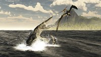 A Tylosaurus jumps out of the water, attacking a Pteranodon Fine Art Print