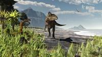 An Acrocanthosaurus roams an Early Cretaceous North America Framed Print