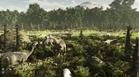 Lurdusaurus and Nigersaurus dinosaurs grazing a prehistoric forest Fine Art Print