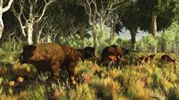 Diprotodon on the edge of a Eucalyptus forest with some early kangaroos Fine Art Print