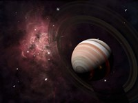 The gas giant Carter orbited by it's two small moons Banth and Sorak Fine Art Print