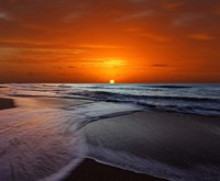 Two crossing waves at sunrise in Miramar, Argentina Fine Art Print