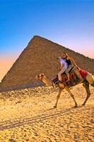 Camel ride, Great Pyramids, Cairo, Giza Plateau, Egypt Fine Art Print