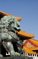 Bronze mythological lion statue, Forbidden City, Beijing, China Fine Art Print