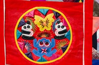 China, Beijing. Chinese handicrafts. Colorful Chinese embroidery quilt by Cindy Miller Hopkins - various sizes - $42.99