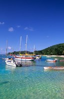Boats, beach, La Digue, Seychelle Islands by Bill Bachmann - various sizes