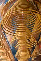 Hanging coils of burning incense, Man Mo Temple, Tai Po, New Territories, Hong Kong, China Fine Art Print
