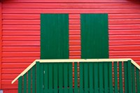 Red and Green wooden cottages, Muizenberg Resort, Cape Town, South Africa Fine Art Print