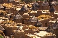 Flat And Conical Roofs, Village of Songo, Dogon Country, Mali, West Africa Fine Art Print