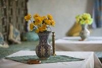 Flowers and Room Detail in Dessert House, Morocco by Walter Bibikow - various sizes