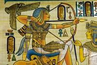 Egypt, hand painted papyrus hunting scene Fine Art Print