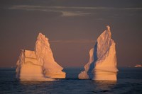 Antarctic Peninsula, icebergs at midnight sunset. Fine Art Print