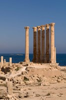 Ancient Architecture with sea in the background, Sabratha Roman site, Libya Fine Art Print