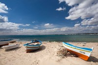 Fishing boats on beach, Hammamet, Cap Bon, Tunisia Fine Art Print