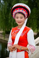 Bai Minority Woman in Traditional Ethnic Costume, China Fine Art Print