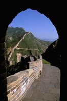 Great Wall of China Viewed through Doorway, Beijing, China Fine Art Print