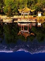 Cangshan Mountains and Park Pavilion, Dali, Yunnan, China Fine Art Print