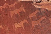 Ancient rock etchings, Twyfelfontein, Damaraland, Namibia, Africa. Fine Art Print