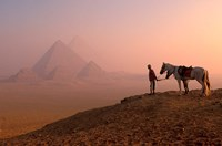 Dawn View of Guide and Horses at the Giza Pyramids, Cairo, Egypt Fine Art Print