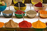 Bowls with Colorful Spices at Bazaar, Luxor, Egypt Fine Art Print