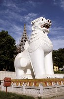 Guardian Lions, Mandalay Hill, Mandalay, Myanmar Fine Art Print