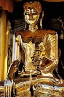 Golden Buda of Shwedagon Pagoda, Yangon, Myanmar Fine Art Print