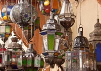Decorative lanterns in Fes medina, Morocco Fine Art Print